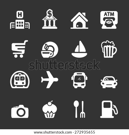 travel map location icon set, white version, vector eps10. - stock vector