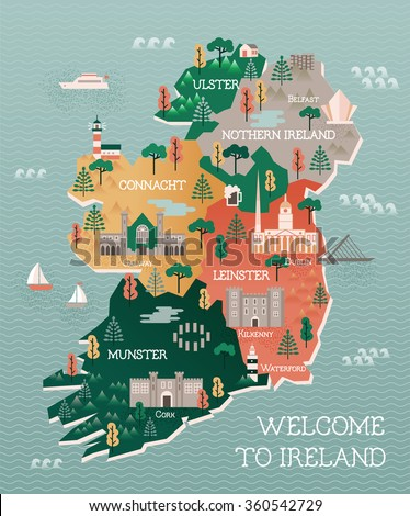 Travel map of Ireland with landmarks and cities - stock vector