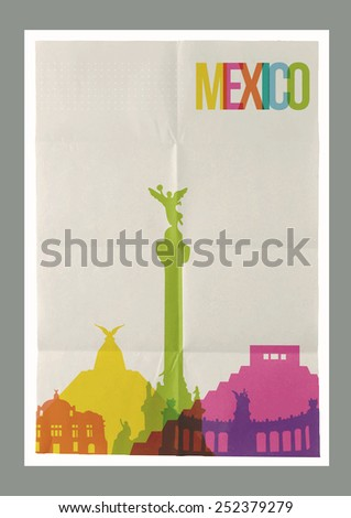 Travel Mexico famous landmarks skyline on vintage paper sheet poster design background. Vector organized in layers for easy create your own postcard, brochure or marketing campaign. - stock vector
