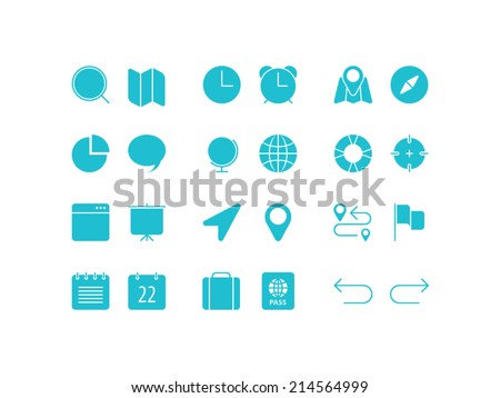 Travel, navigation and date set. Trendy thin icons for web and mobile. Full version - stock vector