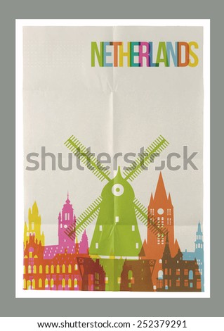 Travel Netherlands famous landmarks skyline on vintage paper sheet poster design background. Vector organized in layers for easy create your own postcard, brochure or marketing campaign. - stock vector