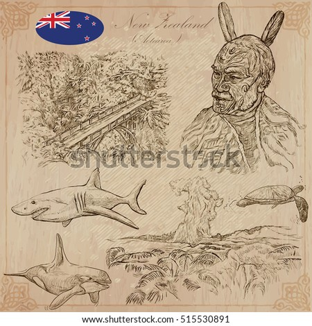 Travel NEW ZEALAND.Pictures of Life.Vector collection.Hand drawn illustrations.Pack of sketches.Set includes,Bridge in the forest,Nature,Maori people portrait,Sharks,Killer Whale,Turtle,Pohutu Geyser