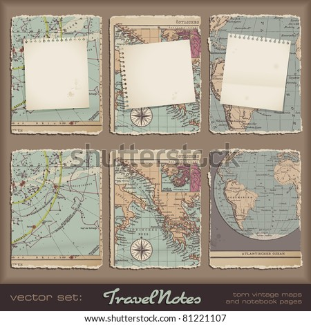 travel notes - grungy torn notebook pages on vintage maps - stock vector