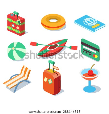 Travel objects icon set flat 3d isomectric modern design template vector - stock vector