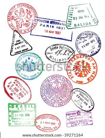 Travel Passport Stamps (Vector) - stock vector