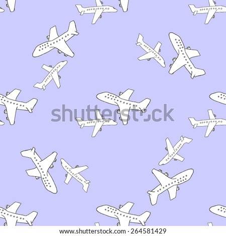 Travel pattern with a plane and an airbus on color background. Use for wallpapers, pattern fills, web pages background, surface textures - stock vector