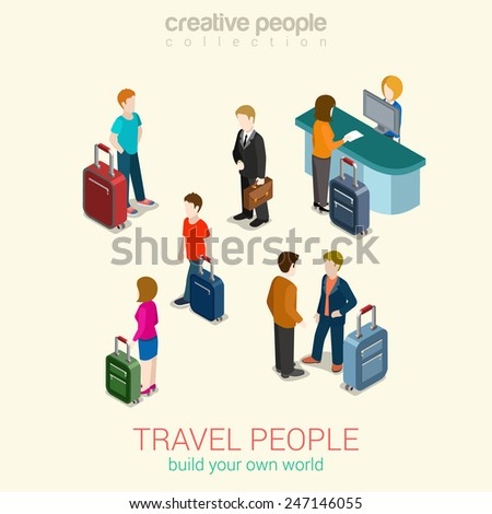 Travel people flat 3d web isometric infographic concept vector set. Men, women and couples with luggage bags, passport security control, ticket service. Build your own world creative people collection - stock vector