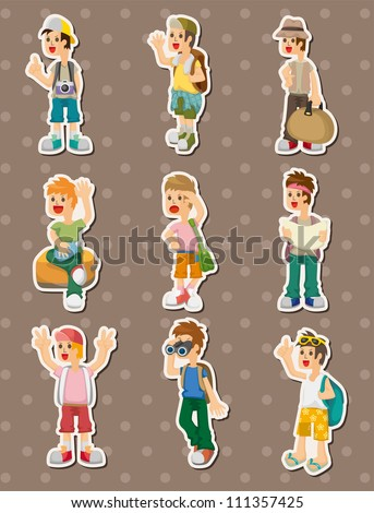 travel people stickers - stock vector
