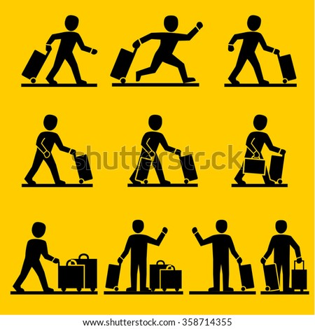 Travel peple with luggage bags in airport. icons