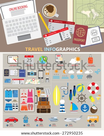 travel planing infographic. can be used for workflow layout, diagram, step up options, web design. Vector illustration - stock vector