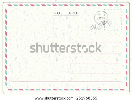 Travel postcard vector in air mail style with paper texture and rubber stamps  - stock vector