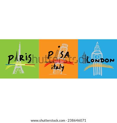 Travel poster Europe cartoon vector - stock vector