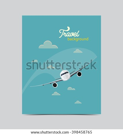 Travel poster with flying airplane
