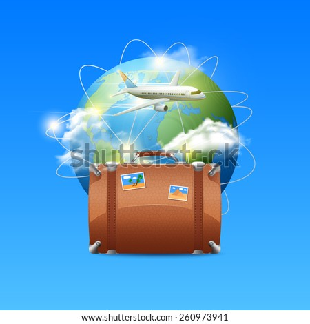 Travel poster with realistic globe tourist suitcase and airplane flying around the world vector illustration - stock vector