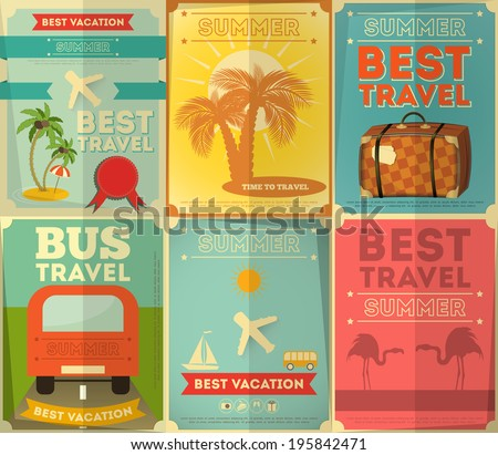 Travel Posters Set - Vacation Items in Retro Style - Vintage Design. Vector Illustrations.  - stock vector