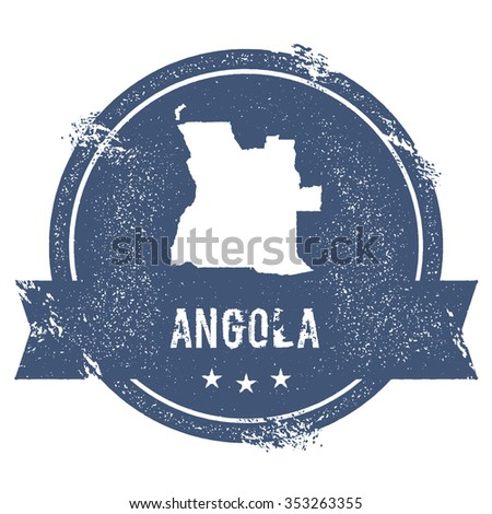 Travel rubber stamp with the name and map of Angola, vector illustration. Can be used as insignia, logotype, label or badge vector design element.