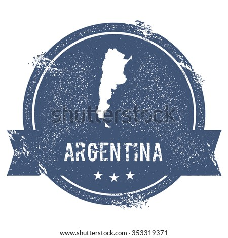 Travel rubber stamp with the name and map of Argentina, vector illustration. Can be used as insignia, logotype, label or badge vector design element. - stock vector