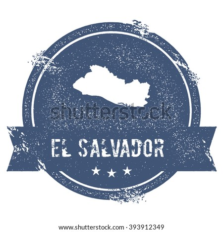 Travel rubber stamp with the name and map of El Salvador, vector illustration. Can be used as insignia, logotype, label or badge vector design element. - stock vector