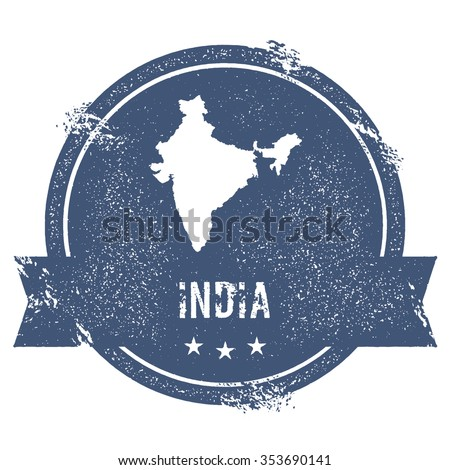 Travel rubber stamp with the name and map of India, vector illustration. Can be used as insignia, logotype, label or badge vector design element. - stock vector