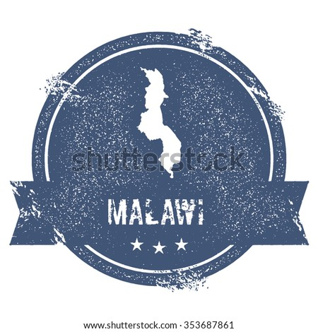 Travel rubber stamp with the name and map of Malawi, vector illustration. Can be used as insignia, logotype, label or badge vector design element.