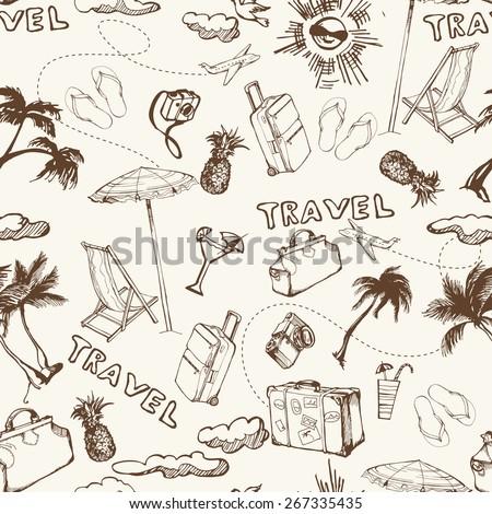 Travel seamless background. Hand drawn summer holidays pattern. Vector illustration - stock vector