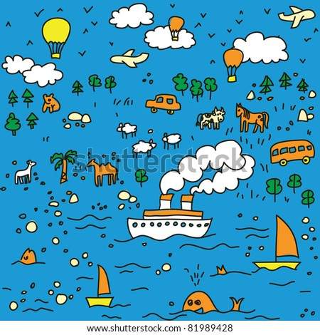 Travel-seamless-pattern-illustration The funny landscape about traveling with nature, animal and different transports.   Seamless pattern. Vector illustration.