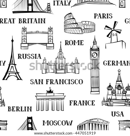 europe landmarks coloring pages | Famous Landmarks Stock Vector 58252204 - Shutterstock