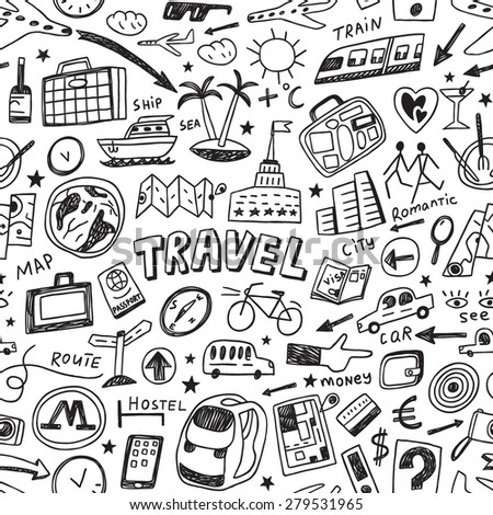 travel seamless vector background - stock vector