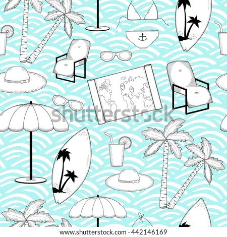 Travel seemless pattern. Summer holiday. Vacation background.