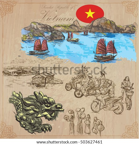 Travel series, VIETNAM. Socialist Republic of Vietnam. Pictures of Life. Colored vector collection of an hand drawn illustrations. Line art set. Pack of hand drawn colored illustrations. Sketches.