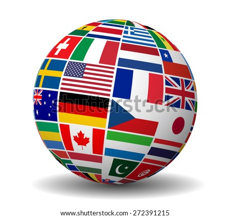 Travel, services and international business management concept with a globe and international flags of the world vector EPS 10 illustration isolated on white background. - stock vector