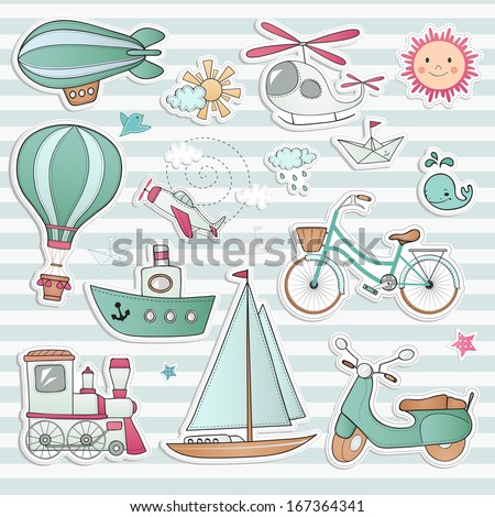 Travel set. Ground, water and air vehicle on light background. - stock vector