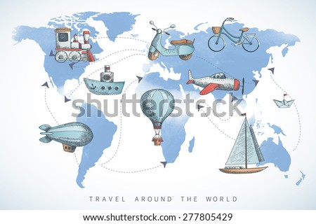 Travel set in retro style. Transportation icons on the world map. - stock vector