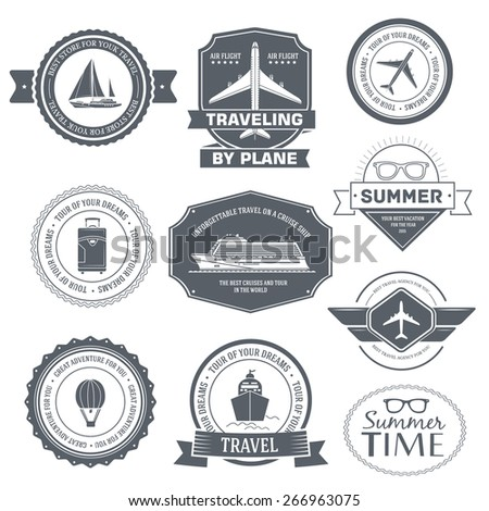 Travel set label template of emblem element for your product or design, web and mobile applications with text. Vector illustration with thin lines isolated icons on stamp symbol.  - stock vector
