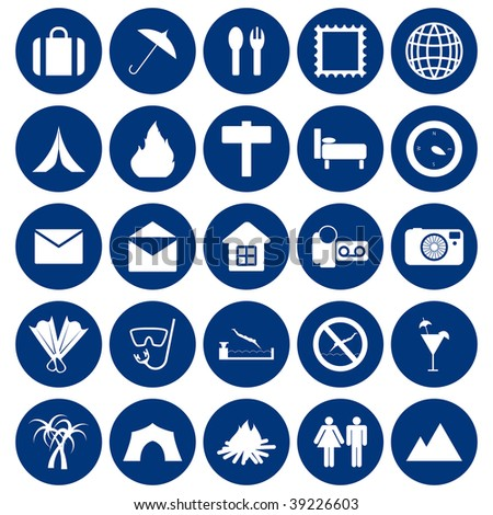 Travel set of different vector web icons - stock vector