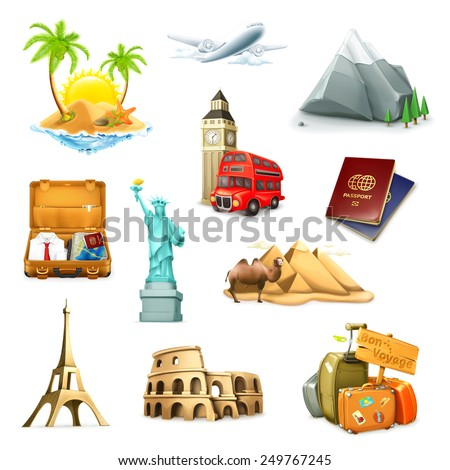 Travel, set of vector icons - stock vector