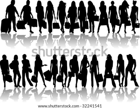 travel silhouettes - stock vector