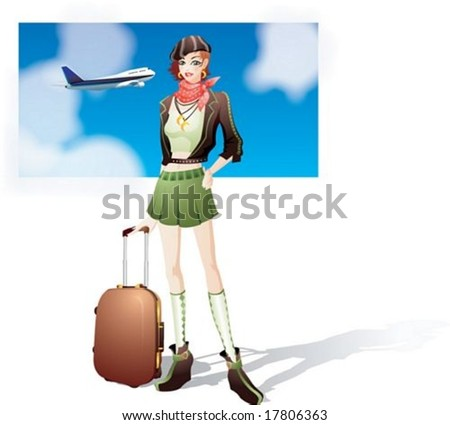 Travel Sketch - with an attractive young woman on white background : vector illustration - stock vector