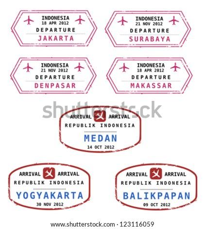 Travel stamps from Indonesia. Grungy stamps (not real). Indonesian destinations: Jakarta, Surabaya, Denpasar, Makassar, Medan, Yogyakarta and Balikpapan. - stock vector