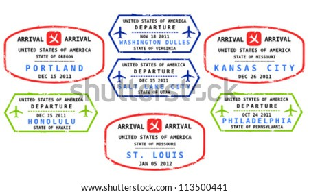 Travel stamps from USA. Grungy stamps (not real). USA destinations: Portland, Honolulu, Washington, Salt Lake City, St. Louis, Kansas City and Philadelphia. - stock vector