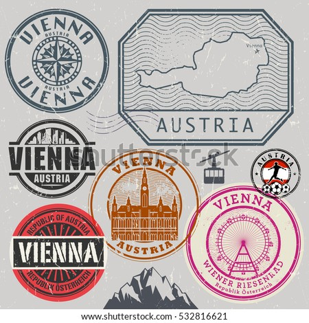 Travel stamps or adventure symbols set, Austria and Vienna theme, vector illustration