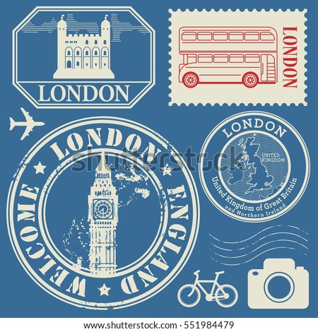 Travel stamps or symbols set, England and London theme, vector illustration.