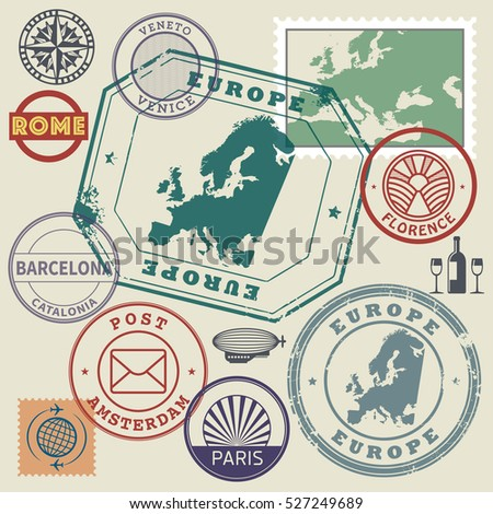 Travel stamps or symbols set, Europe destinations theme, vector illustration