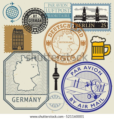 Travel stamps or symbols set, Germany theme, vector illustration