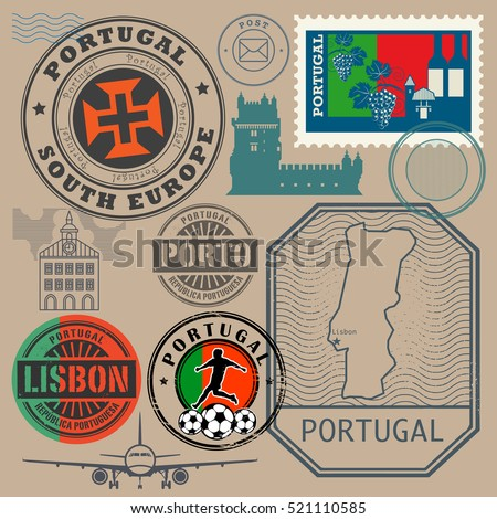 Travel stamps or symbols set, Portugal theme, vector illustration