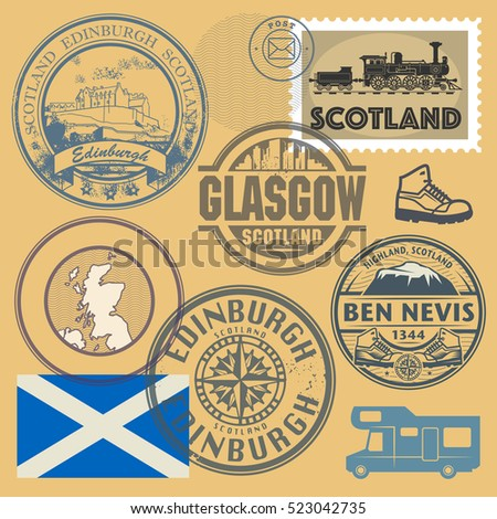 Travel stamps or symbols set, Scotland theme, vector illustration