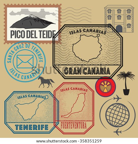 Travel stamps set, Canary Islands, vector illustration - stock vector
