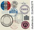 Travel stamps set, France theme, vector illustration - stock vector