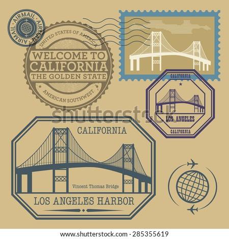 Travel stamps set, vector illustration - stock vector
