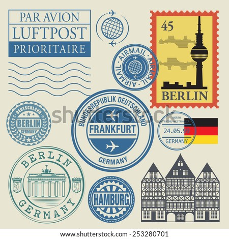 Travel stamps set, vector illustration. translation: airmail - stock vector